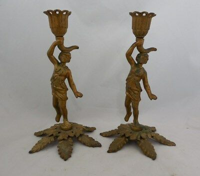 Pair Antique Victorian Cast Iron Gold Painted Candlestick Holders Signed