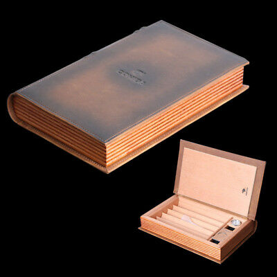 COHIBA Leather Cedar Wood Cigar Humidor Cutter Hygrometer Set Book Style Brown