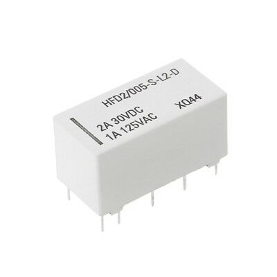 12V Coil Bistable Latching Relay DPDT 2A 30VDC 1A 125VAC HFD2/005-S-L2-D Realy