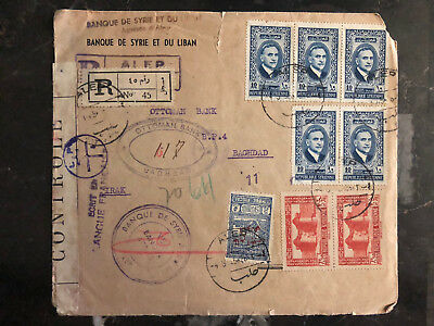 1945 Aleppo Syria Censored cover to Baghdad Iraq Ottoman bank Registered