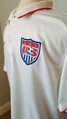 78a74d359 NIKE DRI-FIT MENS USMNT Soccer Jersey White Large Button Collar ...
