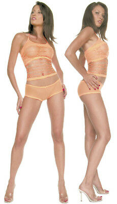 Lycra Geometric Net Lined Halter Top with Low Rise Hot Pants