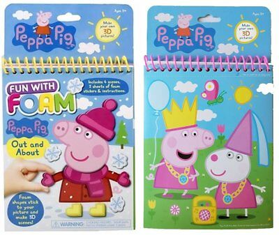 Bulk Lot X 6 Peppa Pig Fun With Foam Diy 3d Pictures Girls Novelty Party Favors