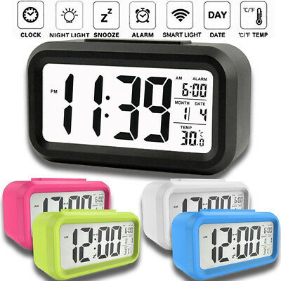 Backlight LED Display Table Alarm Clock Snooze Thermometer Calendar Time Digital