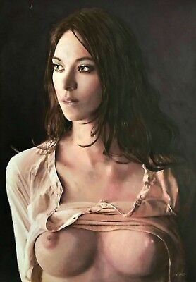 WILLIAM OXER ORIGINAL Exaltation naked nude Pretty sexy Woman Girl PAINTING