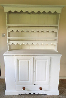 Large Country Kitchen Wooden Dresser Solid Wood Painted 'antique White'