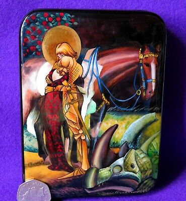 Russian Lacquer Box Heroic Legend of Saint George Maximilian Liebenwein signed