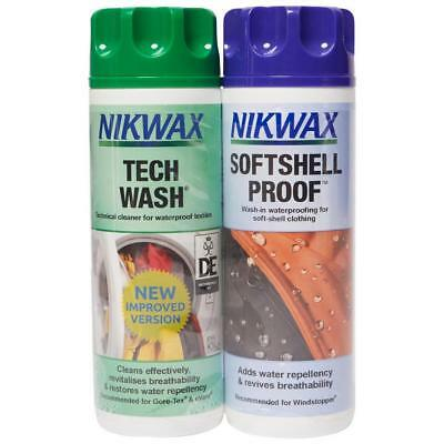 New Nikwax Tech Wash Softshell Proofer Twin Pack 300Ml Fabric Washing