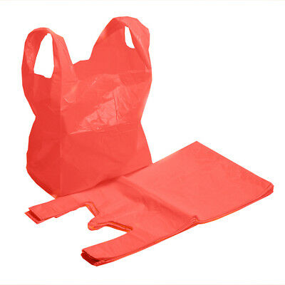 RED PLASTIC VEST SHOPPING CARRIER BAGS - Large 11''x17''x21''