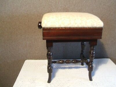 Antique / Vintage Mahogany Piano Stool / Seat
