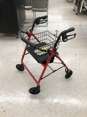 Drive Medical Red Rollator Folding Walker Adult 4 Wheels  *NEW* Fast Ship