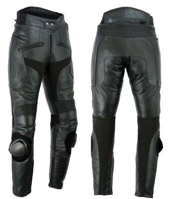 Texpeed Mens Leather Motorcycle Motorbike Biker Trousers Jeans Sliders CE Armour