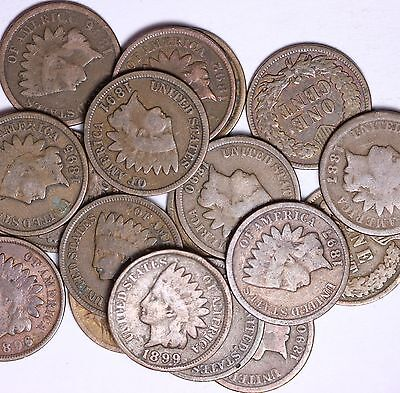 Roll Of 50 Coins Mixed ALL FROM 1800's Indian Head Cents Solid Good++ FREE P/H