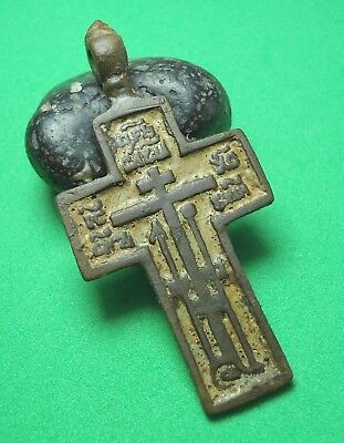 Ancient Bronze Cross with Enamel Wearable Pendant Antique Rare C33