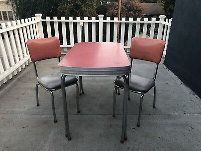 vintage 1950's mid century red kitchen table diner Set + 2 Chairs