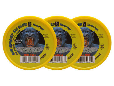 """Blue Monster Gas Guard PTFE Yellow Thread Tape - 1/2"""" x 1,000"""" (3 Pack)"""