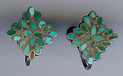 Vintage Zuni Sterling Green & Blue Flush Inlay Turquoise Screwback Earrings