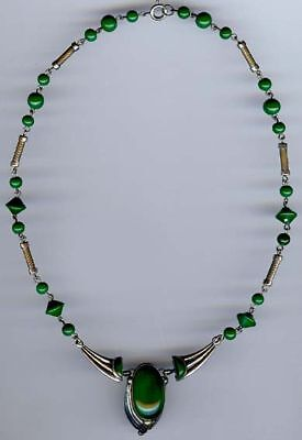 Vintage Art Deco Chrome & Green Glass Necklace