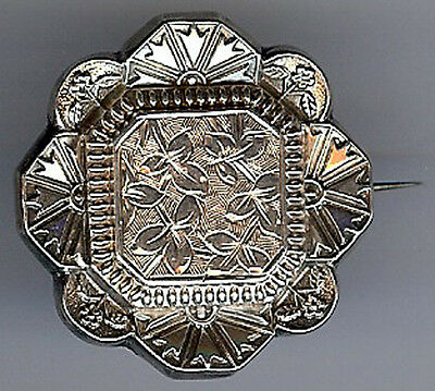 Antique Victorian Sterling Silver Ornate Dimensional Pin Brooch