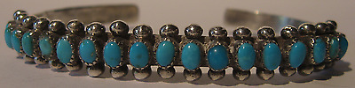 Vintage Navajo Indian Silver Shades Of Blue Multi Turquoise Cuff Row Bracelet