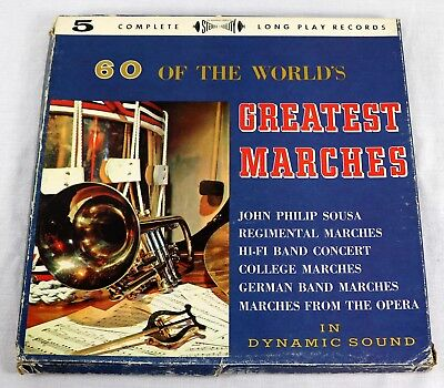 Various 60 Of The Worlds Greatest Marches Promo 5x Vinyl LP Box Set Brass EX/VG