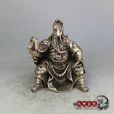 China hand-made antique Tibetan silver Guan Yu fengshui lucky statue