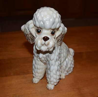 "Vintage 1950s Poodle Dog Figurine 8"" High Lefton Japan Foil Label Porcelain"