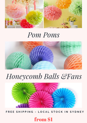Tissue Paper Pom Poms Honeycomb Balls Fans Wedding Party Baby Living Room Deco