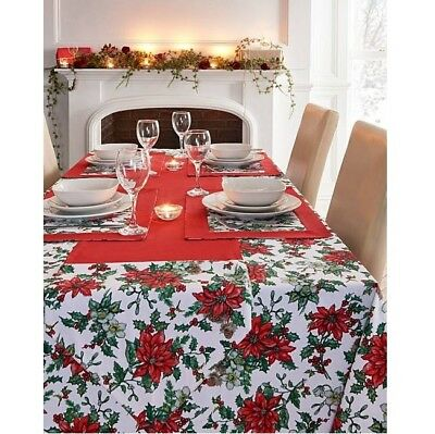 Poinsettia Christmas Table Cloth Dinning Table Runner Placemat Kitchen Linen Red
