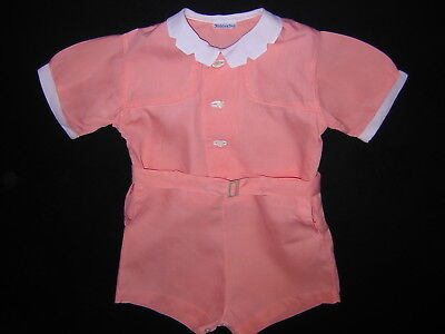 3-Pc Vtg Romper KIDDIES PAL Outfit Shorts Top Belt Toddler Baby Clothes BOY GIRL