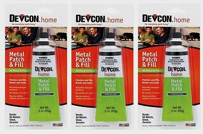 3 DEVCON 50345 Metal Patch & Fill High Strength Adhesive metal Glass Ceramic 3oz