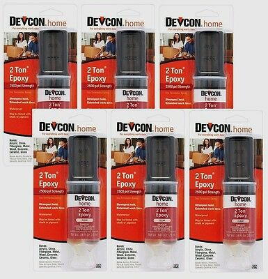 6 DEVCON 31345 Home 2 TON EPOXY High Strength Multi Surface Adhesive CLEAR .84oz