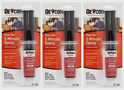 3 New Devcon 20445 Home 5 Minute Epoxy .47 oz. High Strength Adhesive