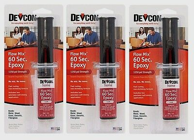 3 New Devcon 21445 Home Flow Mix 60 Second Epoxy .47 oz. High Strength Adhesive
