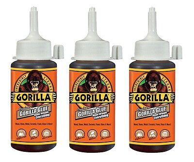 3 Original Gorilla Glue 4oz High Strength Waterproof Adhesive 5000408 NEW