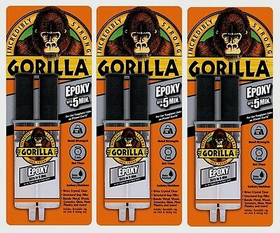 3 New Gorilla Glue Epoxy Adhesive .85oz High Strength Dries Clear 4200102