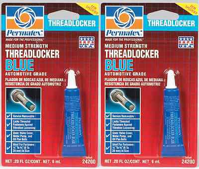 2 New! PERMATEX 24200 THREADLOCKER BLUE Medium Strength Removable .20 fl oz Tube