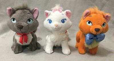 Disney Store Aristocats Kittens Cats Stuffed Plush Set 3 Berlioz Toulouse RARE