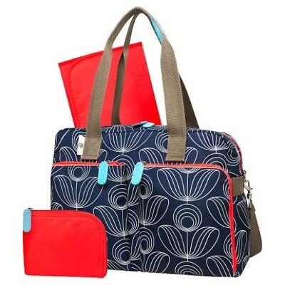 New with tags Orla Kiely Target Navy Diaper Bag Satchel Tote 3pc. Set