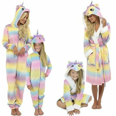 LADIES GIRLS MUM/DAUGHTER Matching Unicorn Onesee Dressing Gown ...