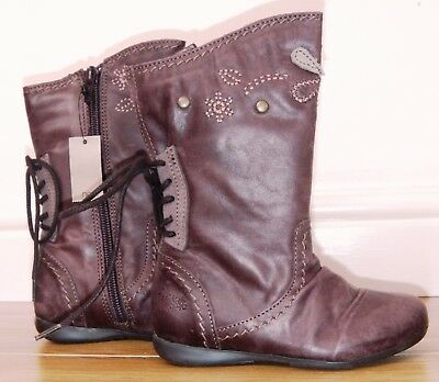 Bnwt Girls Next Brown Leather Boots Uk 6 New Party Shoes School Winter Flower