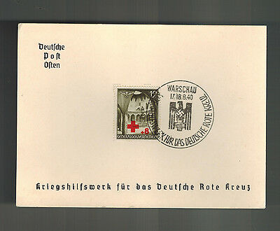 1940 Warsaw Poland GG Germany Souvenir Postcard cover War Relief for Red Cross