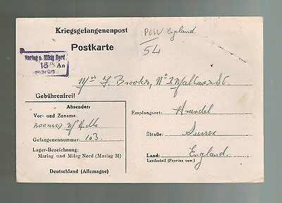 1944 Germany POW Prisoner of War Cover to England Marlag British Merchant Sailor
