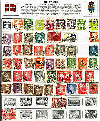Lot of 76 Denmark Stamps on page, Antique Posterim 8 Ore and many more, Danmark