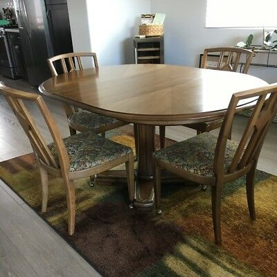 "Mid Century Drexel ""Plaudit"" Pedestal Dining Room Table & Four Chairs"