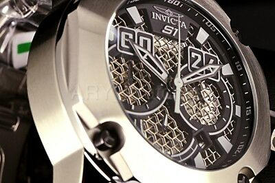 Invicta S1 Rally Silver Tone 52mm Twisted Metal Black Chronograph Dial SS Watch