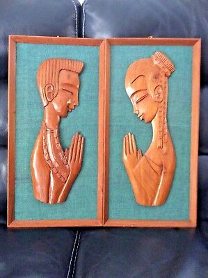 Pair Of WITCO Mid Century Wood Carving Wall Hangings Man & Woman Praying
