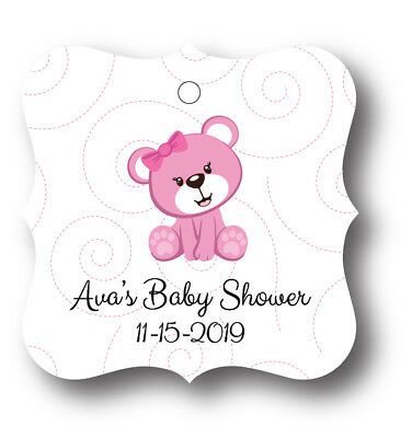 24 Teddy Bear Girl Baby Shower Thank you! Favor Tag - Personalized name and date