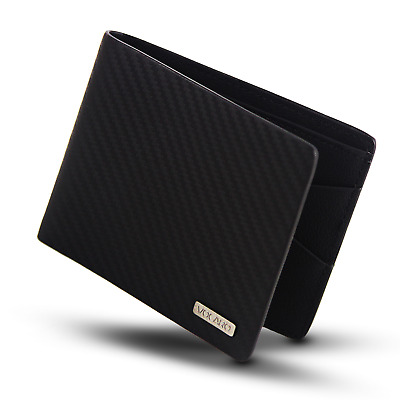 Mens Wallet Rfid Black Genuine Carbon Fiber Leather  Slim Mens Bifold