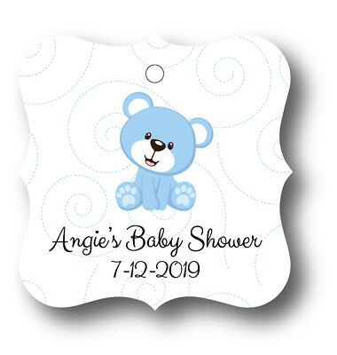 24 Teddy Bear Boy Baby Shower Thank you! Favor Tag - Personalized name and date
